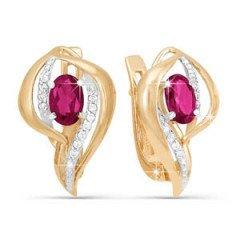 Серьги с бриллиантами и рубином
